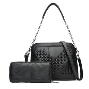 2 in 1 zuivere kleur modieuze PU leder klinknagel vrouwen handtas Single-schoudertas Messenger Bag(Black) (V Rivet)