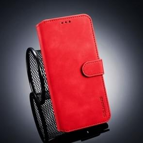 DG.MING Retro Oil Side Horizontal Flip Case for Galaxy J4+, with Holder & Card Slots & Wallet (Red)
