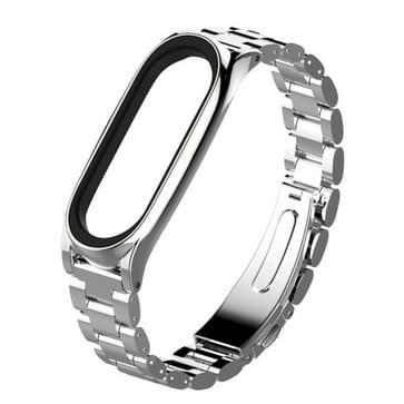 Mijobs metaal oorspronkelijke Xiaomi Mi Band 3 band RVS armband polsbandjes Draagkoordje vervangen Accessories(Silver)