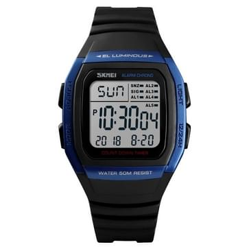 SKMEI 1278 Fashionable Outdoor 50m Waterproof Digital Watch Student Sports Wrist Watch Support 5 Group Alarm Clocks(Blue)