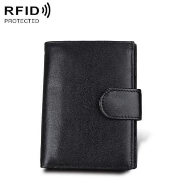 Antimagnet RFID Genuine Leather Wallet / Passport Package / Cowhide Card Slot for man(Black)