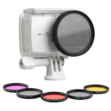 7 in 1 voor Xiaomi Xiaoyi Yi II 4K Sport Actie Camera Professionele 52 mm lens filter (CPL + UV + rood + oranje + geel + paars) & waterdichte behuizing Adapter Ring