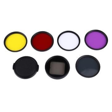 6 in 1 Professionele 58mm Lens Filter set  (CPL + UV + rood + geel + paars) & Waterdichte behuizing Adapter Ring voor GoPro HERO4 / 3+ & Xiaomi Xiaoyi Yi II 4K Sport Actie Camera