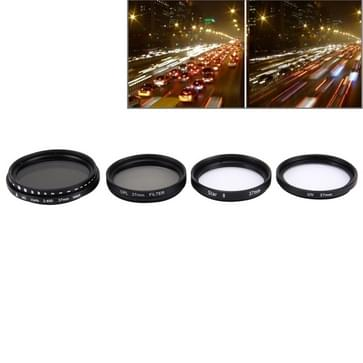 JUNESTAR 4 in 1 Professionele 37mm Lens Filter set (CPL + UV + ND2-400 + Ster 8) voor GoPro & Xiaomi Xiaoyi Yi Sport Actie Camera