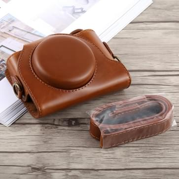 Full Body Camera PU Leather Case Bag with Strap for Sony DSC-HX90 (Brown)