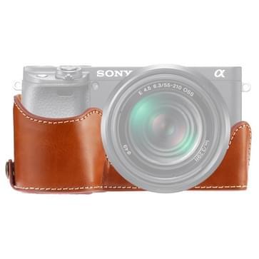 1/4 inch draad PU lederen camera halve Case Base voor Sony A6400/ILCE-A6400 (bruin)