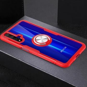 Krasbestendige TPU + acryl ringbeugel beschermhoes voor Huawei Honor 20(rood)