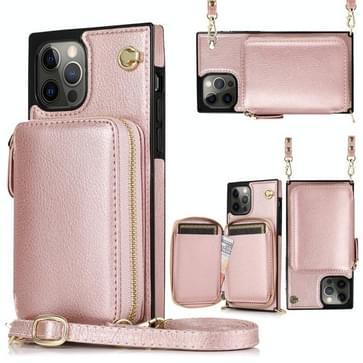 Cross-body Zipper Big Wallet Bag Square TPU+PU Back Cover Case met Holder & Card Slots & Wallet & Strap Voor iPhone 12 / 12 Pro(Rose Gold)
