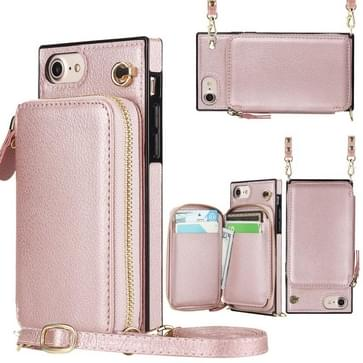 Cross-body Zipper Big Wallet Bag Square TPU+PU Back Cover Case met Holder & Card Slots & Wallet & Strap Voor iPhone SE 2020 / 8 / 7(Rose Gold)
