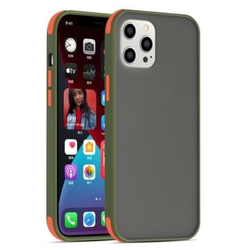 Semi Transparante Frosted Series Shockproof Beschermhoes voor iPhone 12 Pro Max (Leger Groen+Oranje Knoppen)