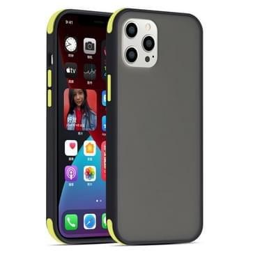 Semi transparante matte serie schokbestendige beschermhoes voor iPhone 12 Pro Max (Zwart+Gele knoppen)