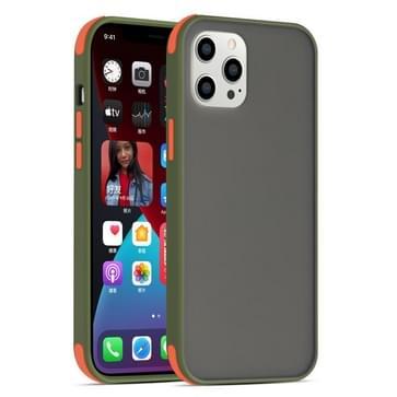 Semi Transparante Frosted Series Shockproof Beschermhoes voor iPhone 12 / 12 Pro (Leger Groen+Oranje Knoppen)