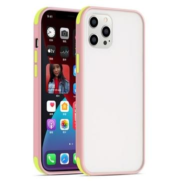 Semi Transparante Frosted Series Shockproof Beschermhoes voor iPhone 12 / 12 Pro (Roze+Fluorescerende groene knoppen)