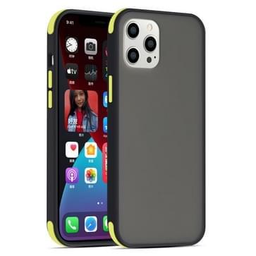 Semi Transparante Matte Serie Schokbestendige beschermhoes voor iPhone 12 mini (Zwart+Gele Knoppen)