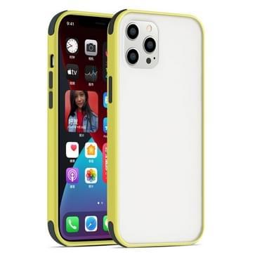 Semi Transparante Matte Serie Schokbestendige beschermhoes voor iPhone 12 mini (geel+zwarte knoppen)