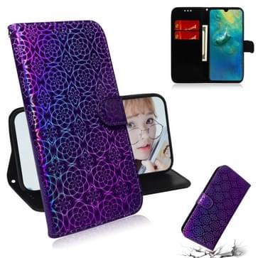 Voor Huawei mate 20 effen kleur kleurrijke magnetische Buckle horizontale Flip PU lederen draagtas met houder & kaartsleuven & portemonnee & Lanyard (paars)