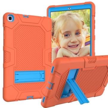 Voor Samsung Galaxy Tab A 10.1 (2019) / T510 Contrast Color Shockproof Siliconen + PC Beschermhoes met houder(Oranje Blauw)