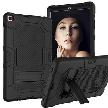 Voor Samsung Galaxy Tab A 10.1 (2019) / T510 Contrast Color Robot Shockproof Siliconen + PC Beschermhoes met houder(zwart)