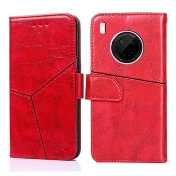 Voor Huawei Y9a Geometrische stiksels horizontale flip TPU + PU lederen hoes met Holder & Card Slots & Wallet(Rood)