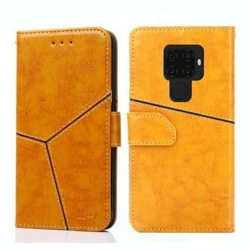 Voor Huawei Mate 30 Lite Geometrische stiksels horizontale flip TPU + PU lederen hoes met houder & kaartslots & portemonnee(geel)