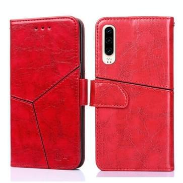 Voor Huawei P30 Geometrische stiksels horizontale flip TPU + PU lederen hoes met Holder & Card Slots & Wallet(Rood)