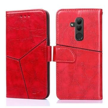 Voor Huawei Mate 20 lite Geometrische stiksels horizontale flip TPU + PU lederen hoes met Holder & Card Slots & Wallet(Rood)