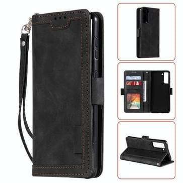 Voor Samsung Galaxy S21 Ultra 5G Retro Splicing Horizontale Flip Lederen case met kaartslots & portemonnee(zwart)