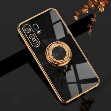 Voor de Vivo X30 Pro 6D Electroplating Full Coverage Siliconen Beschermhoes met magnetische ringhouder(zwart)