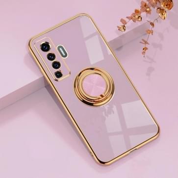 Voor de Vivo X50 6D Electroplating Full Coverage Siliconen Beschermhoes met magnetische ringhouder (lichtpaars)
