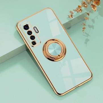 Voor de Vivo X50 6D Electroplating Full Coverage Siliconen Beschermhoes met magnetische ringhouder (Light Cyan)