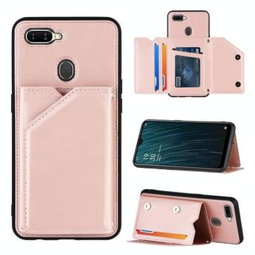 Voor OPPO A7 / A5s / A12 Skin Feel PU + TPU + PC Back Cover Shockproof Case met Card Slots & Holder & Photo Frame(Rose Gold)