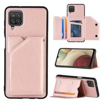 Voor Samsung Galaxy A12 Skin Feel PU + TPU + PC Back Cover Shockproof case met Card Slots & Holder & Photo Frame (Rose Gold)