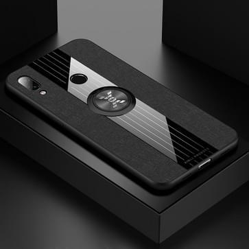 Voor Xiaomi Redmi 7 XINLI Stitching Cloth Texture Schokbestendige TPU beschermhoes met ringhouder(Zwart)