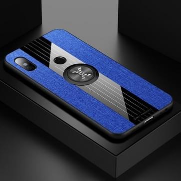 Voor Xiaomi Redmi Note 5 XINLI Stitching Cloth Texture Schokbestendige TPU-beschermhoes met ringhouder(blauw)