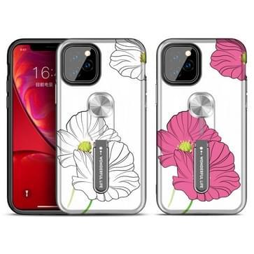 Voor iPhone 11 Rood-serie UV-licht kleur veranderende beschermhoes met ringbeugel (Lotus Leaf)