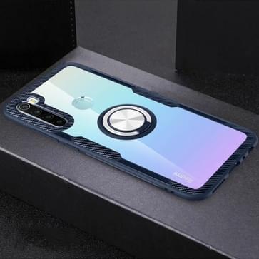 Voor Xiaomi Redmi Note 8 Schokbestendige TPU + acryl beschermhoes met metalen ringhouder (Marineblauw)