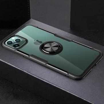 Voor iPhone 11 Pro Schokbestendige Transparante TPU + acryl beschermhoes met ringhouder(zwart)