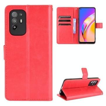Voor OPPO A94 5G / Reno5 Z 5G / F19 Pro + 5G Crazy Horse Texture horizontale flip lederen case met houder   kaart slots & lanyard (rood)