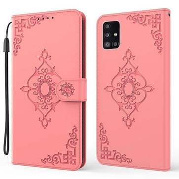 Voor Samsung Galaxy A51 5G reliëf fortune bloem patroon horizontale flip lederen tas met houder & kaart slot & portemonnee & lanyard