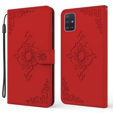 Voor Samsung Galaxy A51 4G reliëf fortune bloem patroon horizontale flip lederen tas met houder & kaart slot & portemonnee & lanyard