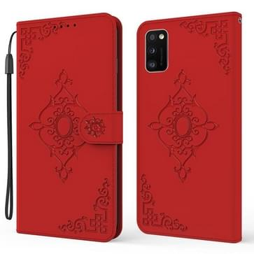 Voor Samsung Galaxy A41 reliëf Fortune Flower Pattern Horizontal Flip Lederen Case met Houder & Card Slot & Portemonnee & Lanyard