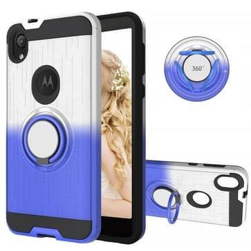 Voor Motorola E6 2 In 1 PC + TPU beschermhoes met 360 graden draairinghouder (zilverblauw)