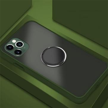 Voor iPhone 11 Pro SULADA Magnetic Frosted Siliconen Frame Beschermhoes met ringhouder (Army Green)