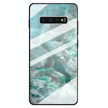 Voor Galaxy S10 Marble Pattern Glass Beschermhoes (Cyaan)