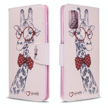 Voor Galaxy A51 gekleurd tekenpatroon horizontaal flip lederen hoes met houder & kaartslots & portemonnee(herten)
