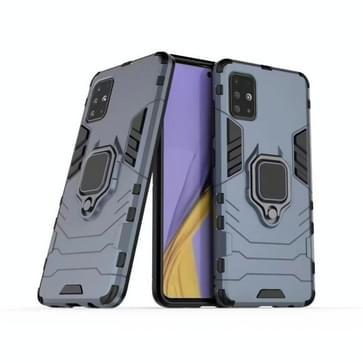Voor Galaxy A51 PC + TPU schokbestendige beschermhoes met magnetische ringhouder(Navy Blue)