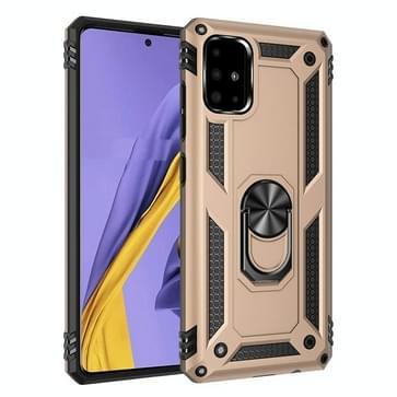 Voor Galaxy A51 Schokbestendige TPU + pc beschermhoes met 360 graden roterende houder(goud)
