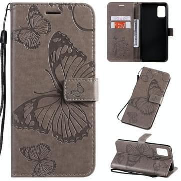 Voor Galaxy A51 Geperst printen Vlinderpatroon Horizontaal Flip PU Lederen hoesje met Houder & Card Slots & Wallet & Lanyard(Grijs)