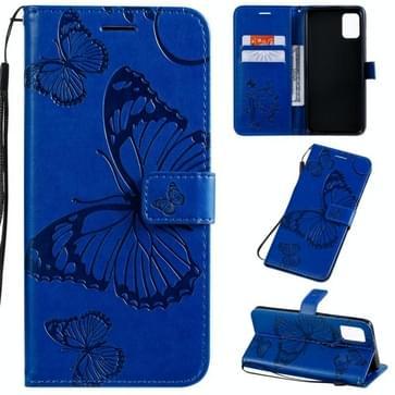 Voor Galaxy A51 Geperst printen Vlinderpatroon Horizontaal Flip PU Lederen hoesje met Houder & Card Slots & Wallet & Lanyard(Blauw)