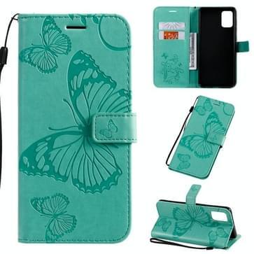 Voor Galaxy A71 Geperst printen Vlinderpatroon Horizontaal Flip PU Lederen hoesje met Holder & Card Slots & Wallet & Lanyard(Groen)